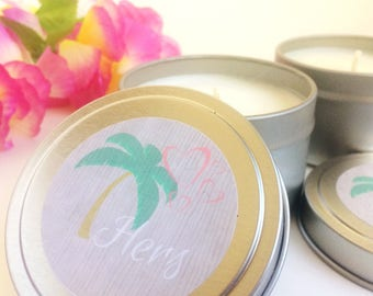 Soy Candle Tin | Hawaiian Plumeria Spring Candle | Tropical Wedding Favor | Personalized Bridesmaid Gift | Bridal Shower Favor Candle Favors