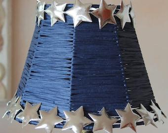 Lamp shade - blue raffia and silver stars - girly nursery