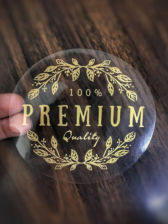 Metallic gold stickers gold ink on clear vinyl 1000 gold ink round labels clear stickers waterproof stickers product label stickers