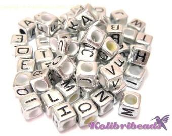 100x Metallised Plastic Alphabet Cube Beads, A- Z Letter Cubes 6mm