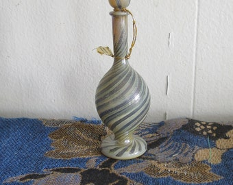 "Vintage  Art Glass Perfume Bottle with Stopper  Hand Blown Glass, Made in Israel 5"",  Swirl pattern, glass bottle, small genie bottle"