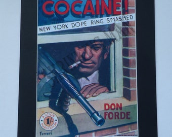 COCAINE - VINTAGE 1950's pulp book jacket cover - A3 mounted poster (50 x 40)cm