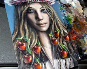 Eve -  original art by Tanya Bond - fantasy illustration oil painting regal apple blossom crown pop surrealism