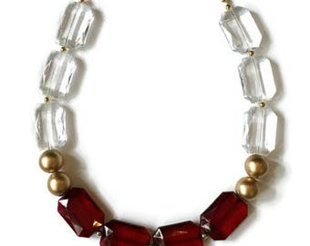 Statement Necklace - Red Crystal Gold Necklace - Gold Statement Necklace