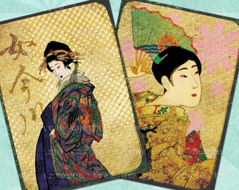 FUNKY GEISHA Digital Collage Sheet 2.5x3.5in Japan - no. 0064