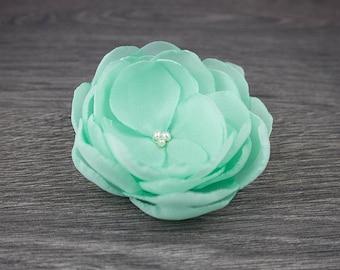 Mint Green Fabric Flower - Wedding Hair Flower - Flower Comb - Wedding Comb - Flower Brooch - Bridesmaid Hair Flower - Christening - Baptism