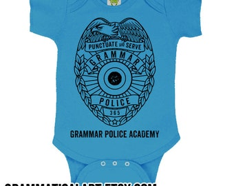 Grammar Police Academy Onepiece Funny Baby Onepieces Cute Baby Clothes Funny Baby Shower Gifts Nerdy Baby Gifts English Teacher Gifts Funny