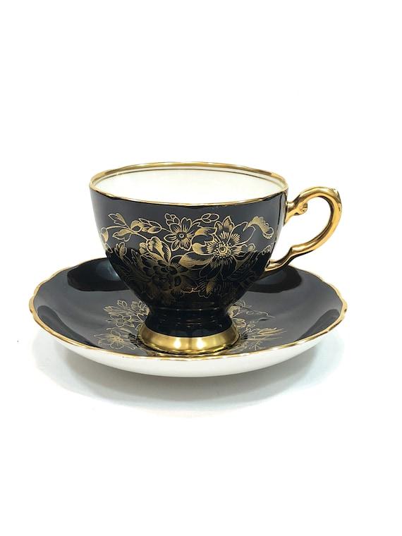 Black & Gold Tea Cup, Tuscan English Teacup Saucer, Gilded Footed Cup, Gold Floral Flower Design, High Tea Elegant Vintage Bone China Teacup