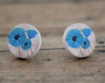 Blue Poppies Round Wood Stud Earrings