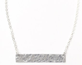 Hammered Silver Bar Necklace, Hammered Layering Necklace, Hammered Bar Necklace, Silver Bar Necklace, Minimalist Necklace, Gift for Her