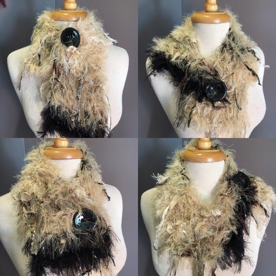 Hand Knit fur short cowl or choker scarf with button, Carmel Black, Art Scarf, Scarf with button, funky scarf, fringed short cowl, fur scarf