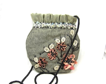 Mary Frances Gray Purse Designer Signed Satchel Hand Bag Pink Floral Beaded Unique Cloth Cinch Small Black Bead Sequin Vintage Fashion