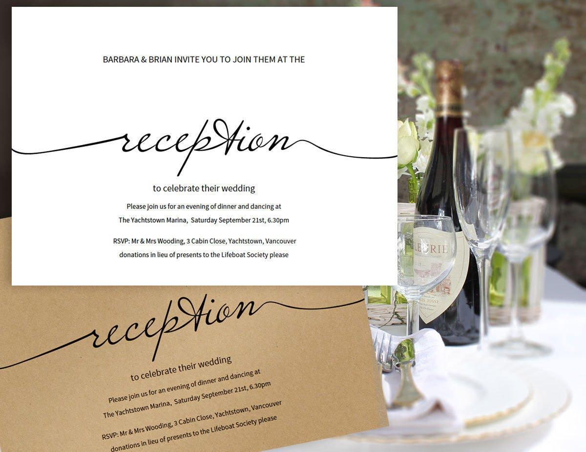 Printable Reception Only Invitation Wedding Printable
