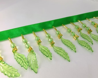 Spring Green Leaves Alternating Medium Beaded Fringe Trim for Craft, Costume or Home Decorator Beaded Trim