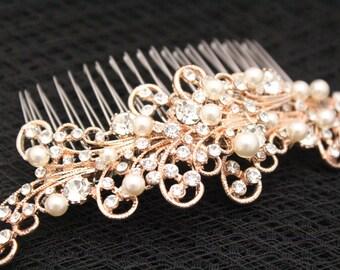 Bridal hair comb rose gold,Wedding hair accessories,Wedding hair jewelry pearl,Wedding hair comb Rose gold,Bridal hair piece,Wedding comb