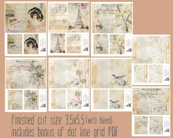 Field Note size, Covers, travelers notebook covers, Vintage, distressed - PDF eight cover styles includes dot line grid bonus - value pac