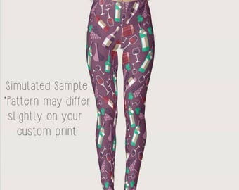 Wine Leggings, Yoga Pants, Grapes, alcohol, beverage, vino, winery, white, red, fruit, rose, mead, Drinking, Glass, Sommelier XS-XL Wine 1