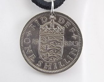 1963 English Coin Necklace, 1 Shilling, Mens Necklace, Womens Necklace, Coin Pendant, Leather Cord, Vintage