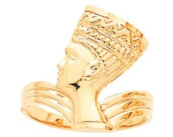 14k gold nefertiti ring, pharoah ring, gold ring.