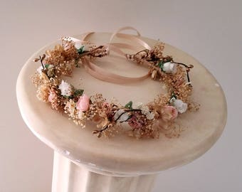 Dusty Pink flower girl halo dried Floral crown Bridal blush custom gold accents fall autumn hair wreath  accessories Woodland wedding