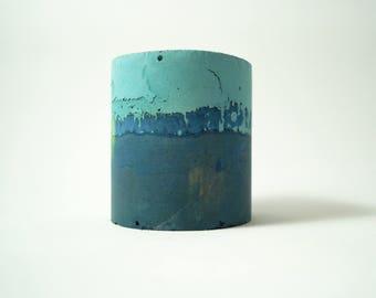 Turquoise & Navy Concrete Vessel