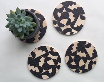 GEOMETRIC COASTERS set of 4, modern coasters, geometric shapes, coaster set, hostess gift, black and white, mid century modern, 80s coasters