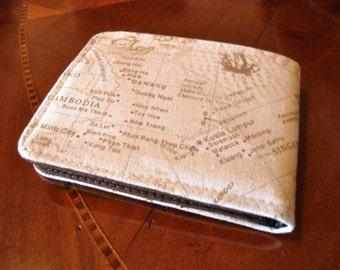 Minimalist Geography slim  wallet  indian ocean print 7 pocket billfold map wallet bifold  vegan