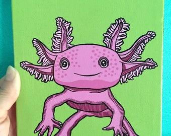 Pop Art Axolotl Painting, Original Hand-Painted Axolotl Art, Gifts for Husband, Art for Weirdos, Pop Art for Animal Geeks, Affordable Art