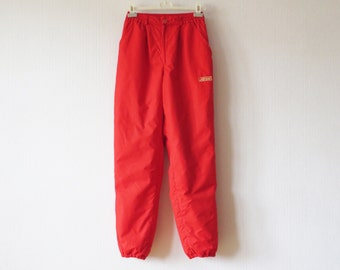 Bright Red Ski Suit Pants Snowboard High Waist Colorful Sporty Trousers Medium Size