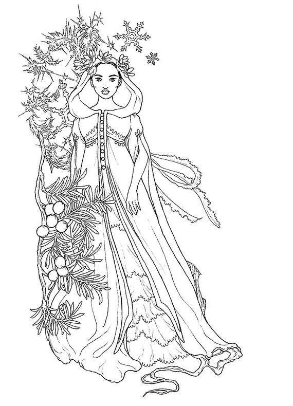 wintry girl ink drawing coloring page instant download