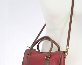 Vintage 1990s Red COACH Madison travel tote with Brown trimming two tone leather satchel
