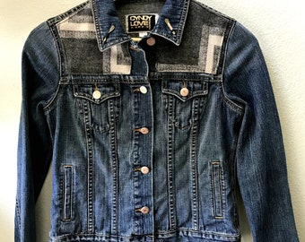 Adult Denim Vintage Native American Jean Jacket with Oregon wool fabric appliques - Size SM  Women's Denim Jacket Tribal Denim Jacket