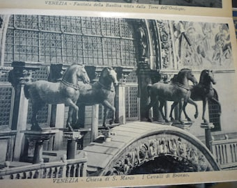 Vintage Photo - Bronze Horses of San Marco Venice  -1928 duotonecard stock - beautiful view - gift for travelers, for scrapbook