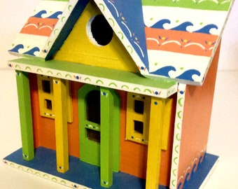 Hand painted beach house birdhouse
