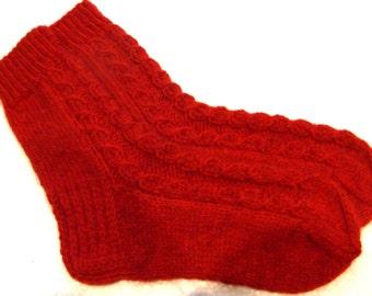 Hand knitted womens wool socks