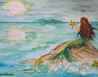 Watercolor Print of Midnight Mermaid 2  Mermaid on the Rock by Leigh Bradford Love Mermaids Original Print