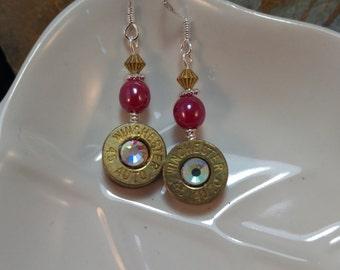 Winchester 45 Auto Bullet Earrings, Pink Bullet Earrings, Winchester Gold Pink Earrings, Winchester Bullet Earrings, Bullet Earrings
