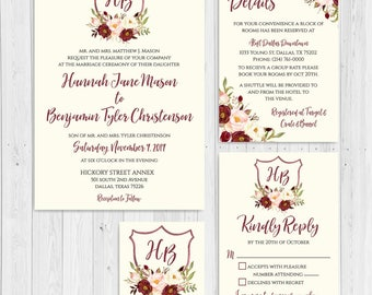 Marsala Watercolor Floral Crest Wedding Invitations Suite, Custom Wedding Invitation Template, Wedding Invitation Packages For Cheap, DIY