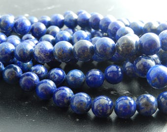 10 Lapis Lazuli beads natural 8 mm