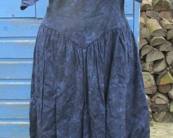 Sale ~ Beautiful Vintage Fifties-Style Blue-Black Print Dress - Sweetheart Neck