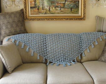 Handmade crochet woman shawl in light blue color