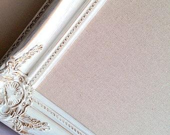 Shabby Chic BULLETIN BOARD Decorative Memo Board for Sale Cottage Decor Home Office Inspiration Board Linen Fabric Board Vintage White