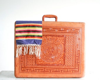 RESERVED for SMH M - Vintage ARTMEX Hand Tooled Leather Suitcase / Leather Interior / Made in Mexico