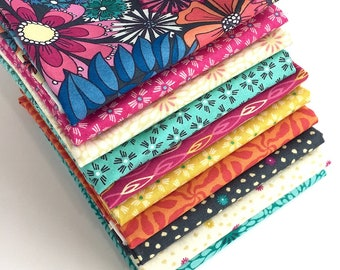 Sundance Fat Quarter Bundle - 10pc - from Beth Studley for Makower, Fabric for Quilting
