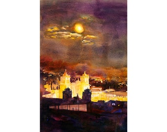 Watercolor painting of Cathedral on Plaza de Armas at moonlight in the Incan city of Cusco, Peru, fine art print home decor Peru painting