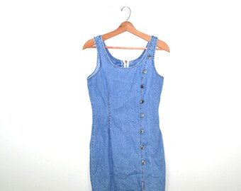 Denim Dress Denim Mini Dress Denim Skater Dress 90s Grunge Dress Denim Shirt Dress 80s Denim Dress
