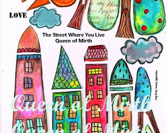Street Where You Live  instant download whimsical houses trees neighborhood house mixed media collage art journal zetti scrapbooking