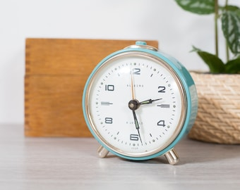 Blue Alarm Clock - Vintage Robin's Egg Blue Small Alarm Clock - Allegro 4 Jewels USSR Wind up Alarm clock
