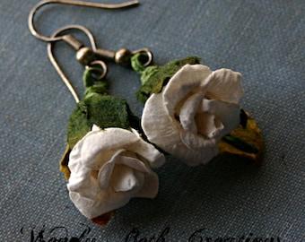 White Paper Rose Earrings
