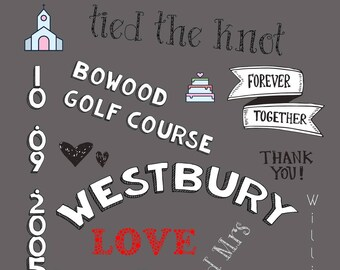 Personalised wedding prints, great gifts for the wedding couple or as a anniversary gift.